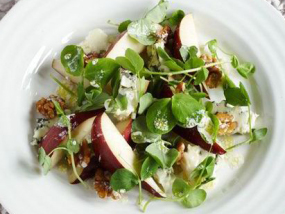 Watercress Walnut Pear and Roquefort Salad drizzled in Linseed/Flaxseed Oil