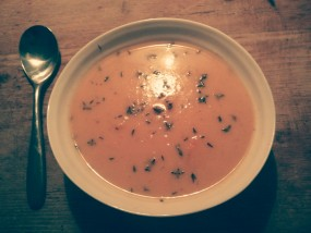 Pumpkin and Lentil Soup with Linseed/Flaxseed Oil