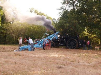 Steam Ploughing before sowing linseed flaxseed