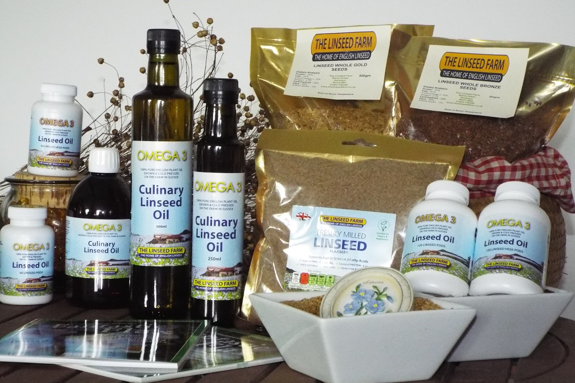 Linseed Products including fresly cold-pressed oil and ground linseed.